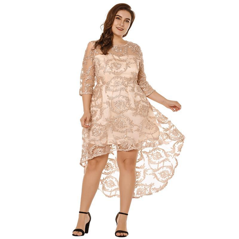 Women Plus Size 3/4 Sleeve High-Low Hem Asymmetric Slim Elegant Semi-sheer Lace Party Dress