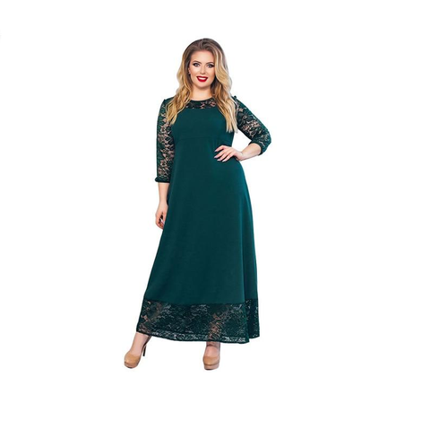 Women Plus Size  Autumn Winter Loose Long Sleeve O-Neck Casual Long Dress