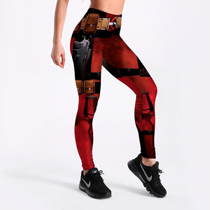 Women's Fashionable Fitness Wine Red Digital Print Super Hero Dead pool Printed Leggings