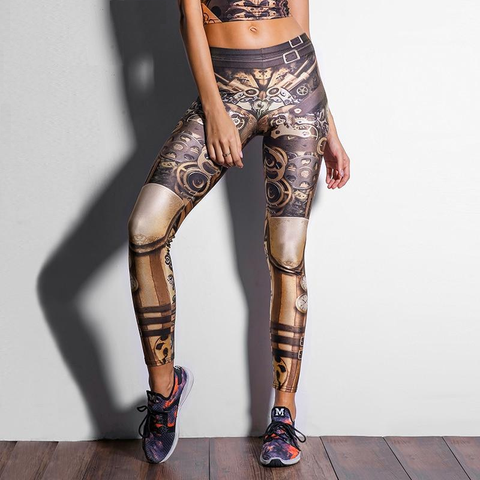 Women Star Wars High Waist Mechanical Gear 3D Print Steampunk Leggings Pant