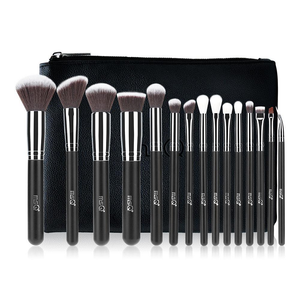 MSQ Pro Makeup Brushes Set With PU Leather Case - 15pcs
