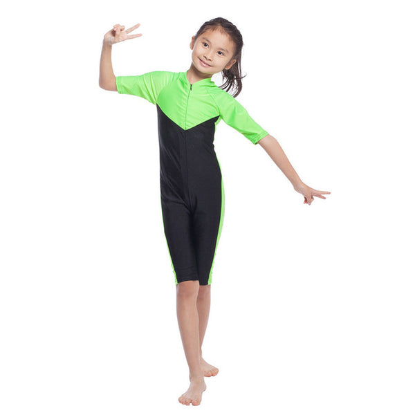 Girls Muslim Swimwears Islamic Children One-piece Short Sleeve Swimsuits Arab Islam Beach Wear Swimming Diving Suits Burkinis