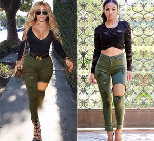 Women High Waist Army Green Big Hole Skinny Slim Fit  Rippeddenim Jeans Pants