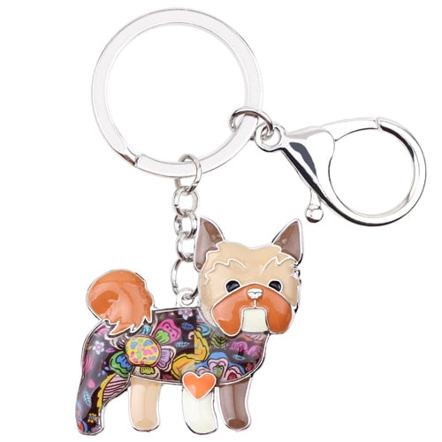 Women's Enamel Dog Key Chain Key Ring Jewelry Bag Pendant Car Key Holder Keychain Accessories