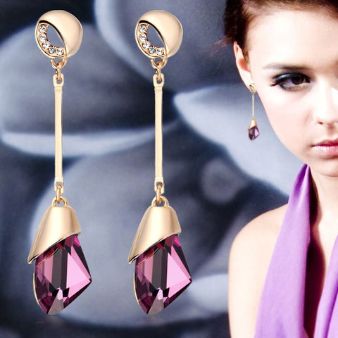 Classic Geometric  Crystal Gold Elegant Long Water Drop Earrings