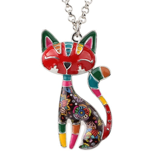 New Fashionable Statement Enamel Cat Kitten Necklace Pendant With Spectacular Effect Chain Collar