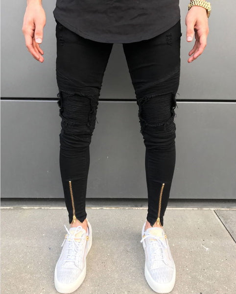Men's Ripped Holes Zip Skinny Biker Jeans Black White Hip-Hop Jeans Pants With Pleated Patchwork Slim Fit.