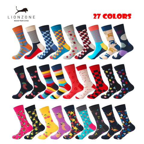 Men's Brand Quality Happy Combed Cotton Socks 27 Colors Striped Plaid Diamond Cherry Socks