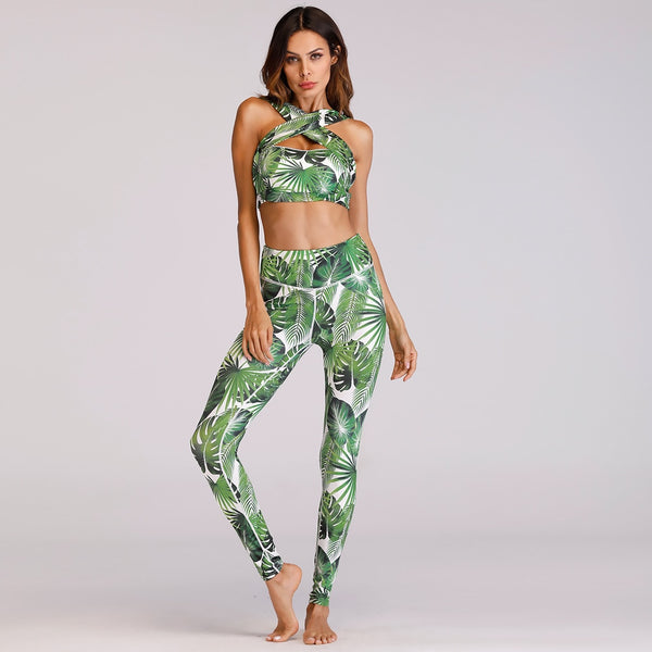 Women 2-Piece Print Cross Patchwork Crop Top Tanks Sporting Skinny Tracksuit And Leggings
