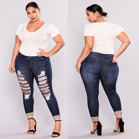 Women's Plus Size Casual High Waist Skinny Pencil Ripped Hole Denim Jeans Big Hip Ladies Pants Jeans