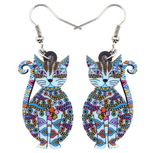 Fashionable Statement Acrylic Floral Animal Cat Kitten Big Long Drop Dangle Earrings