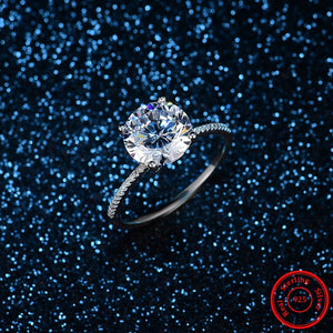 Classic Luxury Real Solid 925 Sterling Silver 10 Hearts Arrows Zircon 3Ct Wedding Engagement Ring