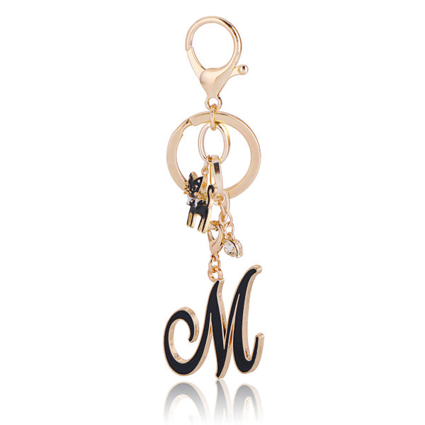 Fashionable Luxury Gold Cat Letters Key Holder Car Key Chain Bag  Keychain Pendant