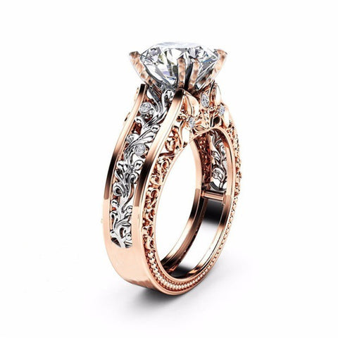 Crystal Gold Color CZ Bague Femme Rose Leaf Stone Engagement Wedding Ring