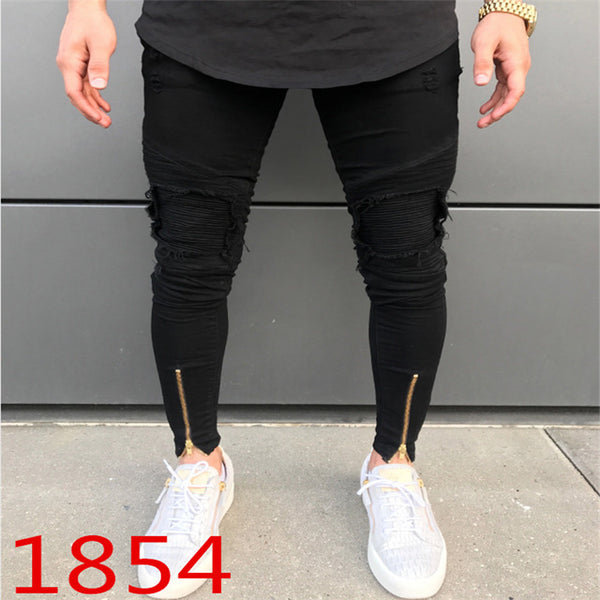 Men's High Quality Fashionable Skinny Elastic Thigh Ankle Zipper Male Ripped Wrinkle in Knee Hip-hop Biker Jeans Pants Trousers
