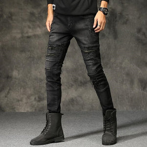 Men's Fashionable Hip-Hop Distressed Ripped Skinny Denim Rock Moto Designer Biker Jeans