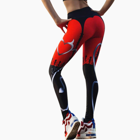 Women's Sexy Heart Printed Red Black Patchwork Sporting Pants Fashion Workout Fitness Leggings