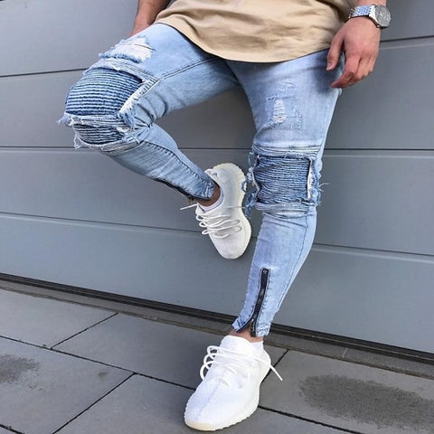Men's Designer Denim Joggers Knee Holes Distressed Washed Destroyed  Slim Fit Ripped Hi-Street Jeans.