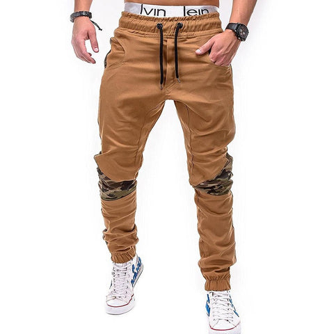 Men's Large Size Joggers Casual Camo Stitching Hip-Hop Khaki Trousers