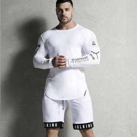 Men's Casual High-Elasticity Long Sleeve Fitness Sporting Solid Gyms Bodybuilding T-shirt