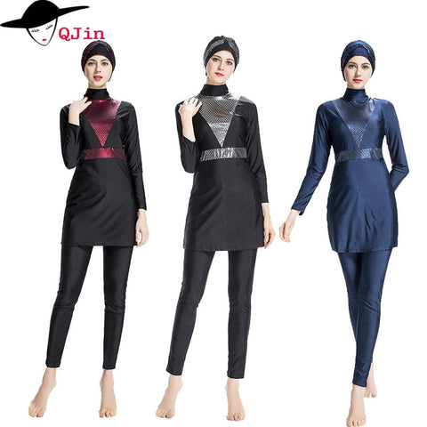 Modesty Style Plus Size Islamic  Swimwear Swimsuit Sport Burkinis Beachwear Surf Wear For Muslim Women And Girls