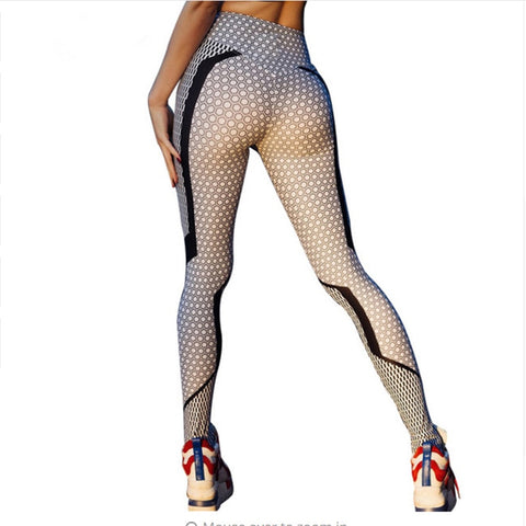 Women Elastic Slim Mesh Pattern Sporting Printed Workout Fitness Leggings