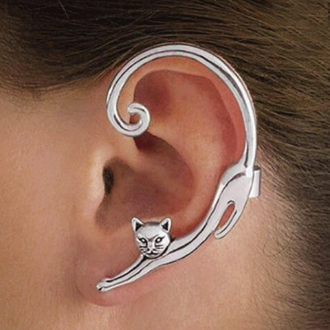 Cat Gold Silver Indian Animal Black Stud Earrings