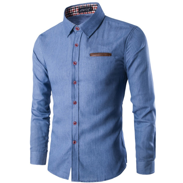 Men's Fashionable Casual Denim Long Sleeve Slim Fit Dress Shirt
