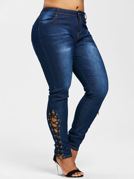 Women's Plus Size Zipper Fly Side Lace Up Skinny High Waist Pockets Denim Pencil Jeans