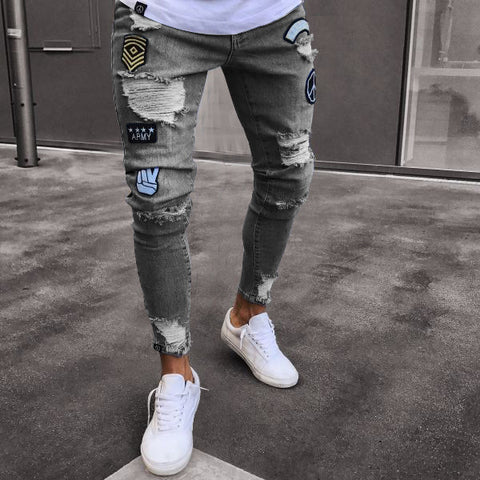 Men's Fashionable Long Pencil Ripped Hip-Hop Slim Spring Hole Thin Skinny Jeans Pants Trousers
