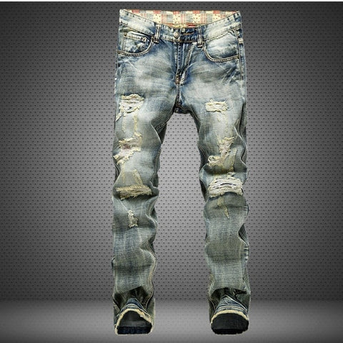 Men's Fashionable Ripped Patchwork Hollow Out Printed Cropped Men's Cowboys Denim Jeans Pants