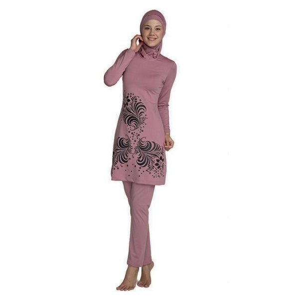 Modesty Style Plus Size Islamic Hijab Floral Print Full Cover Swimwear Swimsuit Burkinis Beachwear Bathing Suit