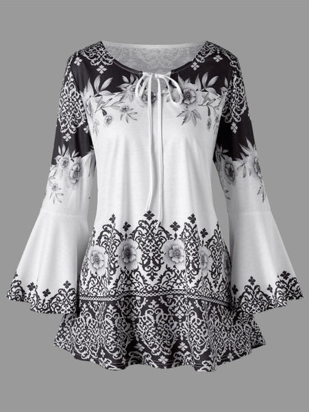 Women's Plus Size Print Keyhole Shirt  Casual Flare Sleeve Neck T-Keyhole Tops 5XL