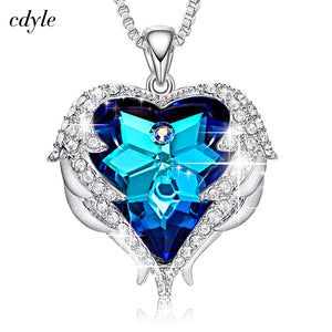 Luxury Swarovski Blue Zircon Heart-Shaped Rhinestone Necklaces Pendant Jewelry Set