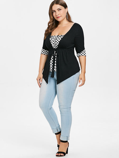 Women's Plus Size Casual Faux Twinset  Ruffle Polka Dot Summer Square Neck Half Sleeves Tops