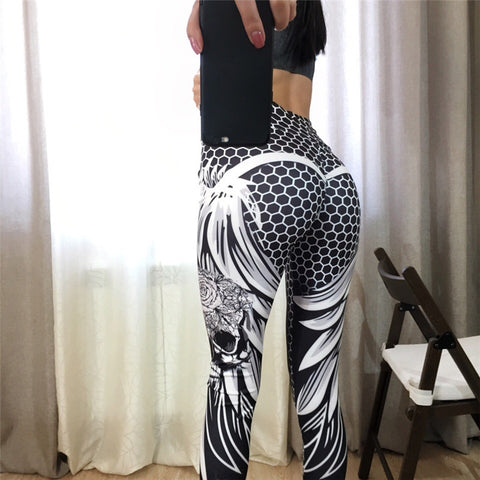 Women High Waist Honeycomb Skull Fitness Polyester Leisure Legging