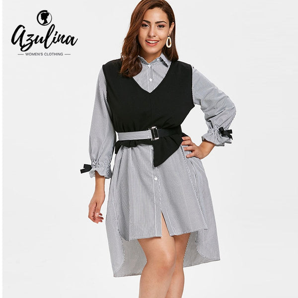 Women's Plus Size Striped Belted Two Piece Shirt Dress With Asymmetrical Vest