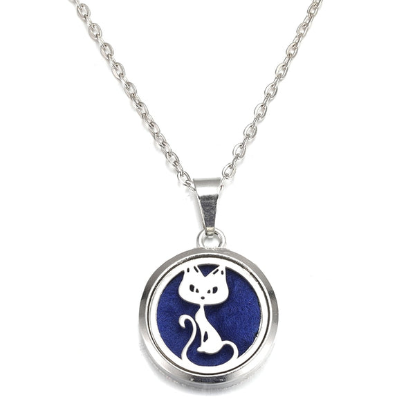 Cat Stainless Steel Magnetic Essential Oil Diffuser Locket Necklace