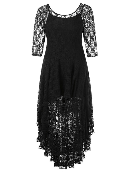 Women's Plus Size High Low Lace Fall Spring See Thru O Neck 3/4 Sleeves Midi Dress With Cami