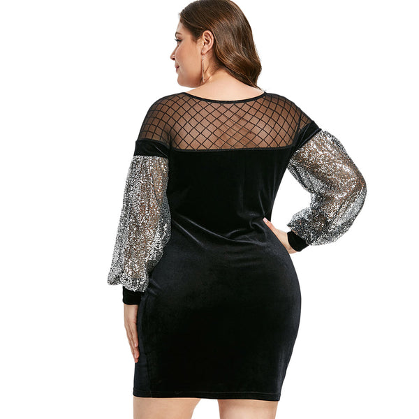 Women's Plus Size Elegant Party Mini Mesh Insert Sequins Velvet Dress