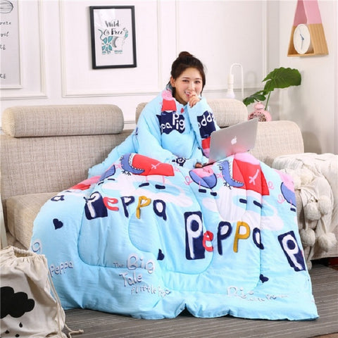 Winter Keep Warm Lazy Quilt Duvet Home Bedding Comforter With Sleeves and Filling