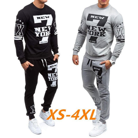 Men's Fashionable 2-Piece Arts Sweatshirt and Sport Pants Set XS-4XL
