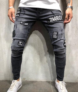 Men's Fashionable Hole Embroidery Jeans Blue Street Wear Hip-Hop Slim Ripped Jeans