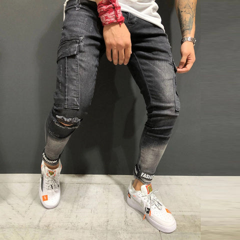 Men's Black Destroyed Fashion Band Ankle Slim Fit Denim Street Wear Ripped Distressed Jeans with Printed Back Pocket