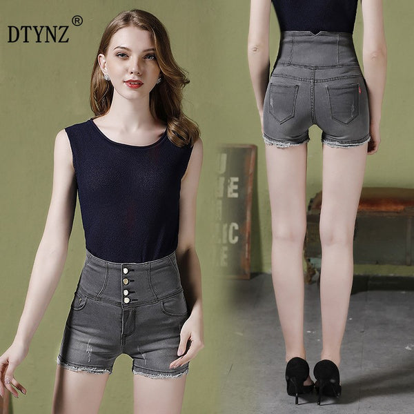 Women's Edge High Elastic Recovery Hip-Lifting High Waist Denim Shorts Hot Pants Wide Leg Shorts S--5XL