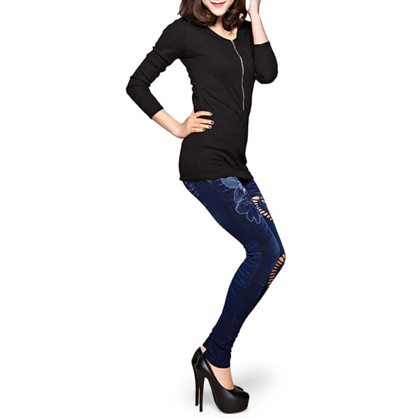 Women's High Waist Elastic Stretch Washed Denim Skinny Pencil Sexy Hole Heart Printing Faux Denim Jeans Pants