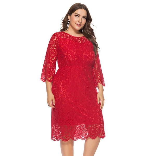 Women Plus Size Elegant Sexy  Vintage O-Neck Hollow Out 3/4 Sleeve Lace Party Dress
