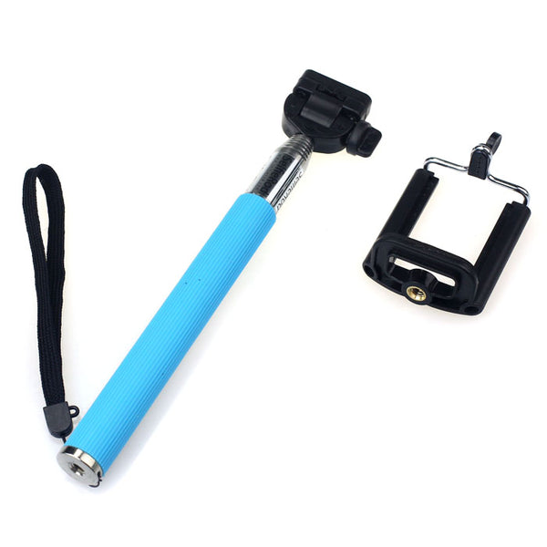 Extendable Handheld Self-portrait Tripod Monopod + Clip Holder For iphone 4 5 5S