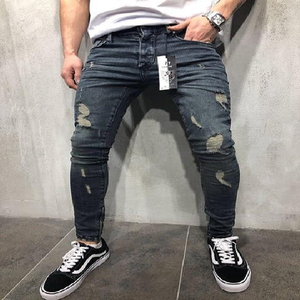 Men's Fashionable Slim Spring Long Pencil Hip-Hop Ripped Hole Thin Skinny Jeans Pants Trousers