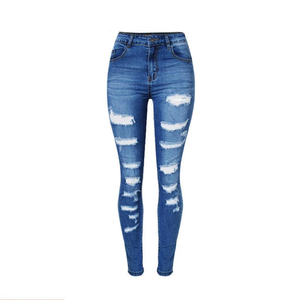 Women's Fashionable BringBring Spring Ripped Slim Denim Elasticity Pencil Hole Jeans Pants High Waist Jeans